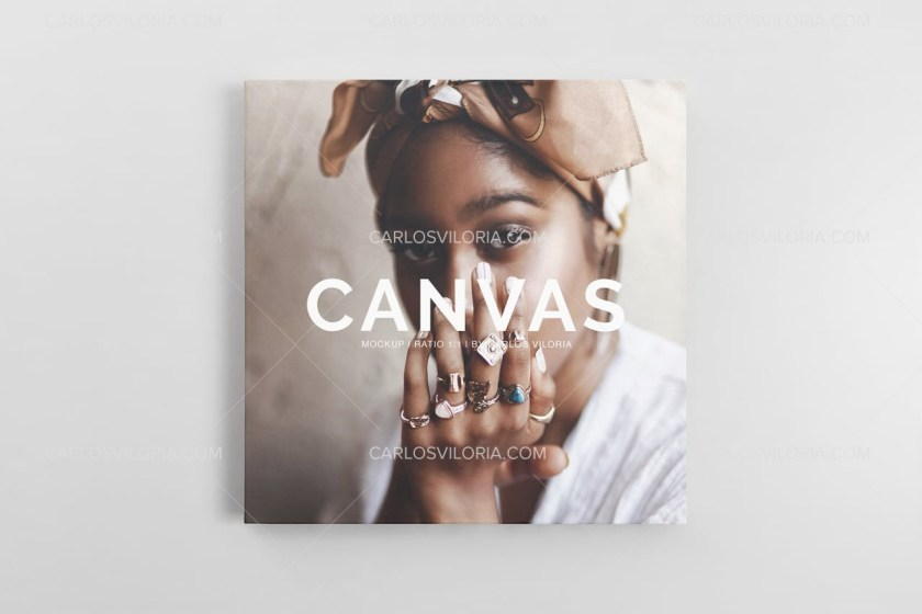 Photo Print Square Canvas Mockup
