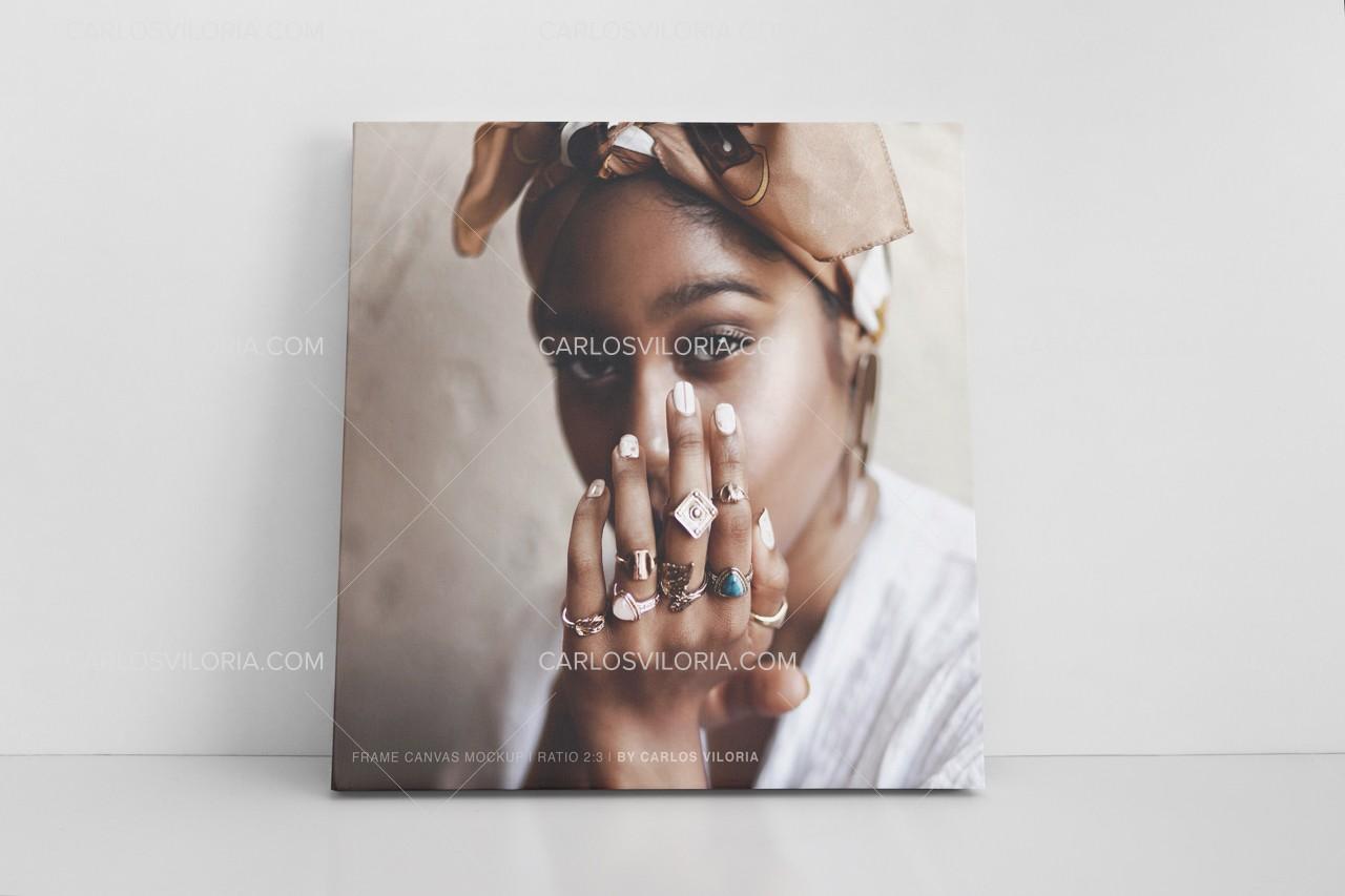 Print Photo Square Canvas Mockup