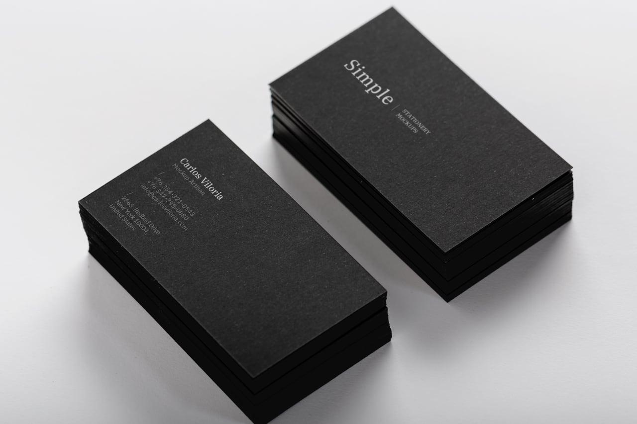 Black Business Cards Mockup