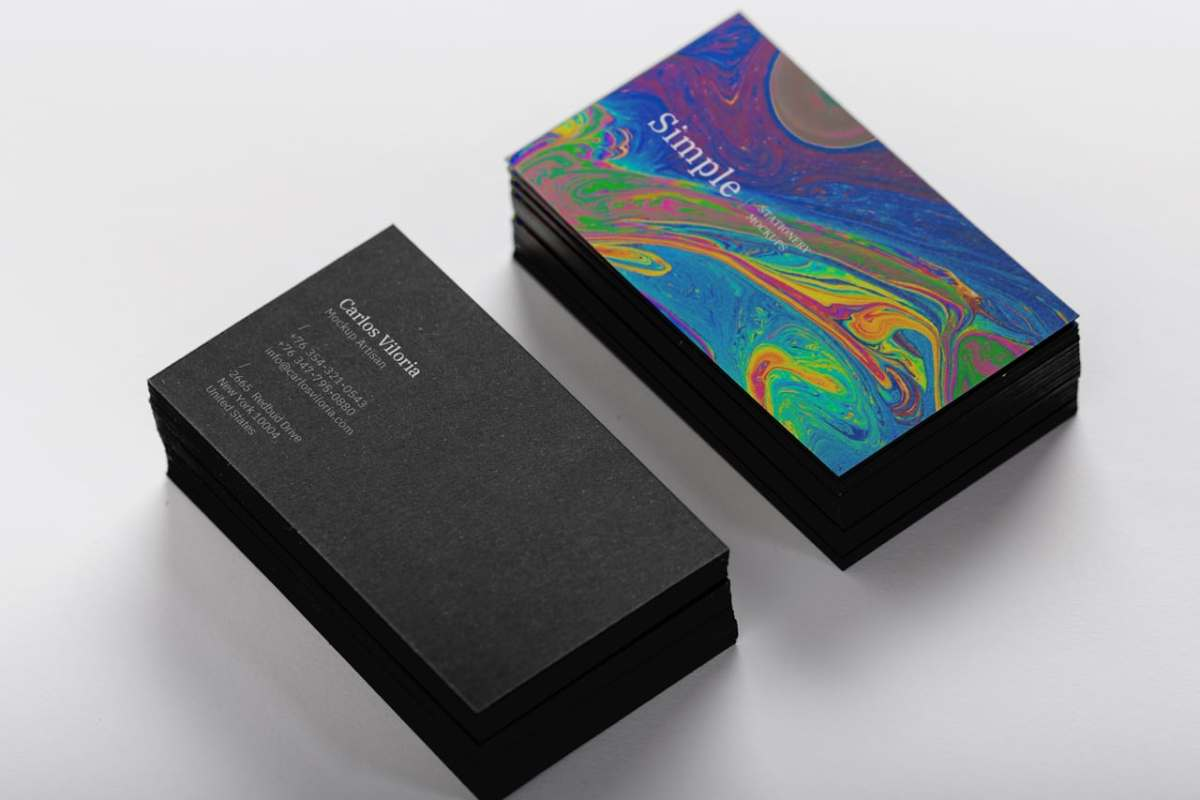 Black Business Cards Mockup