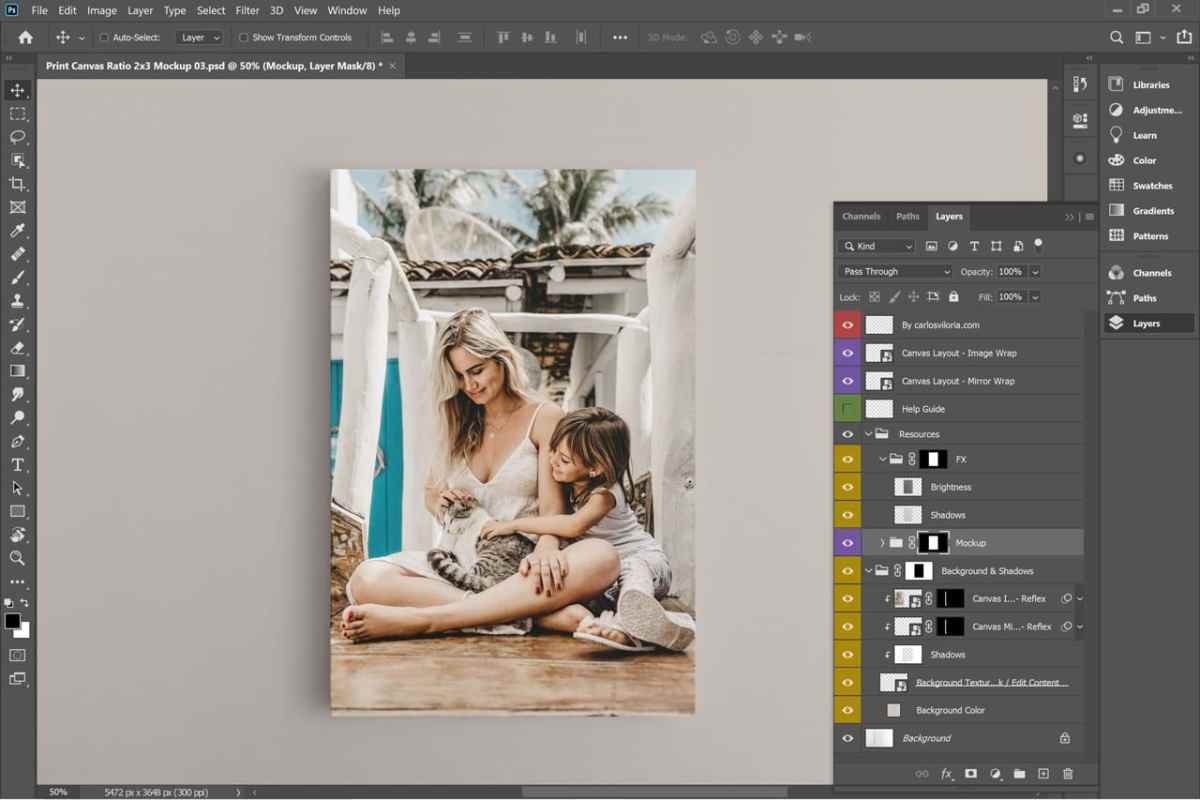 Vertical Frame Canvas Mockup