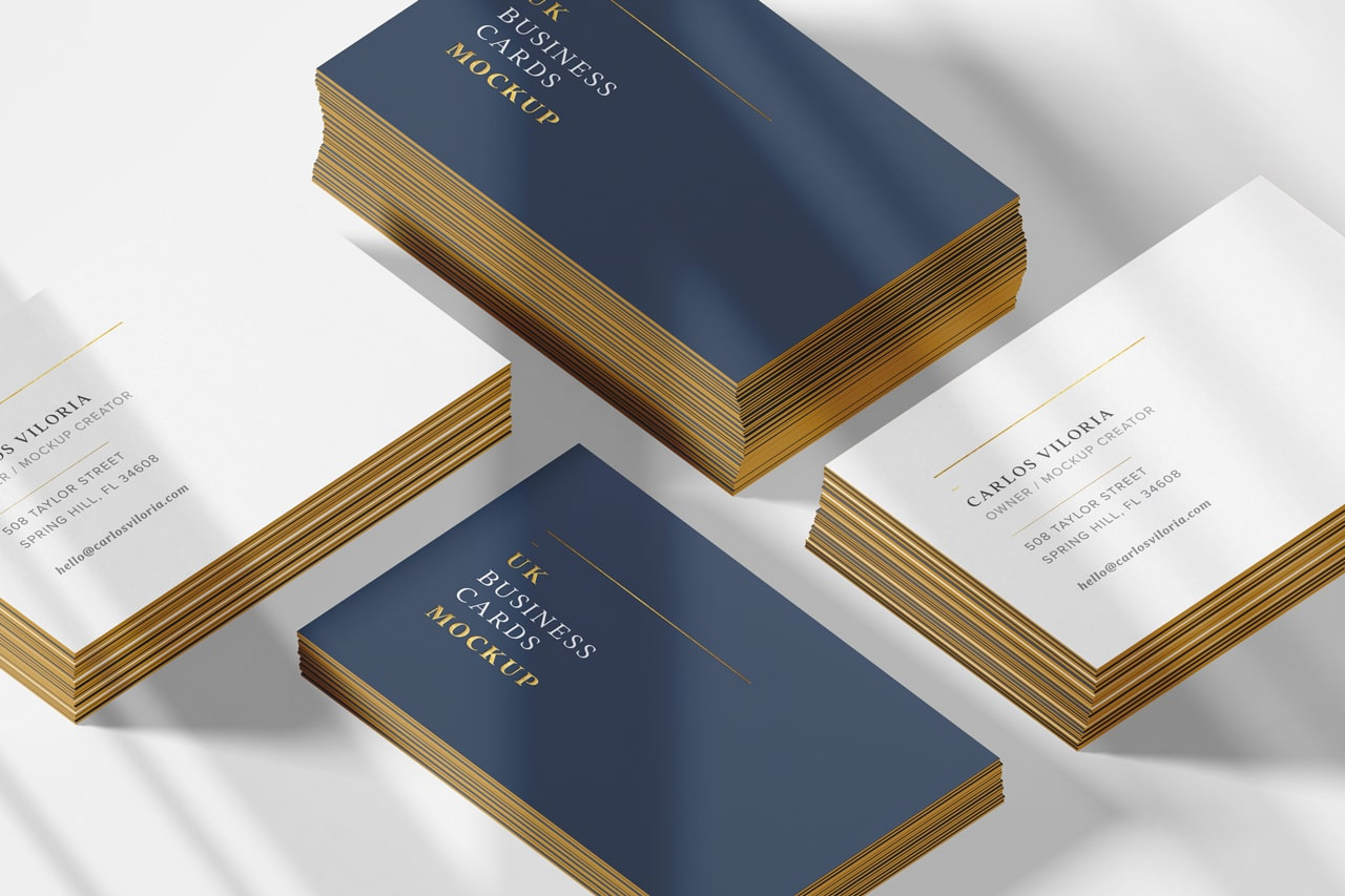 Shadows Stack Business Cards Mockup