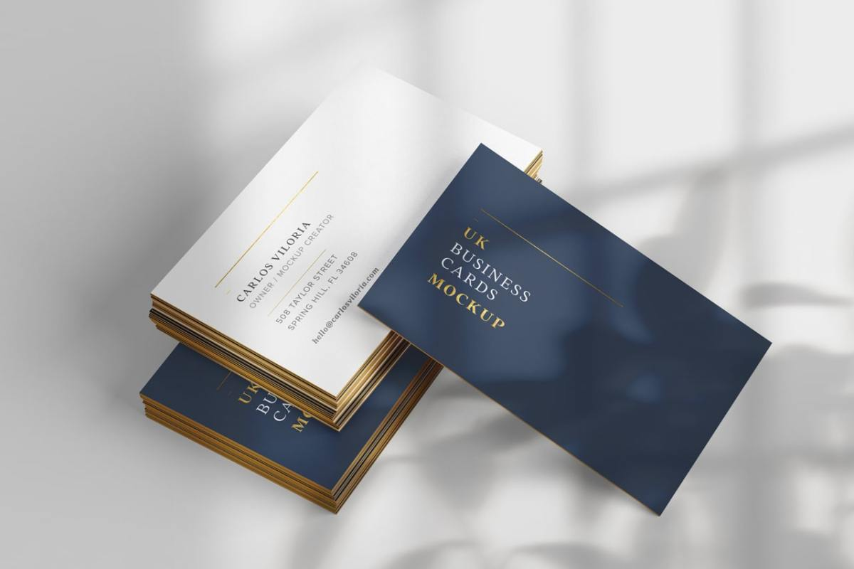 Mockup to showcase UK Business Cards