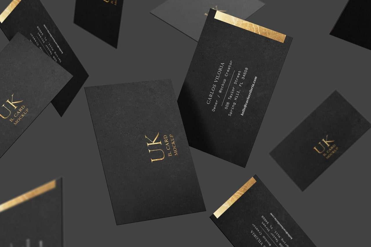 Black Vertical UK Cards Mockup