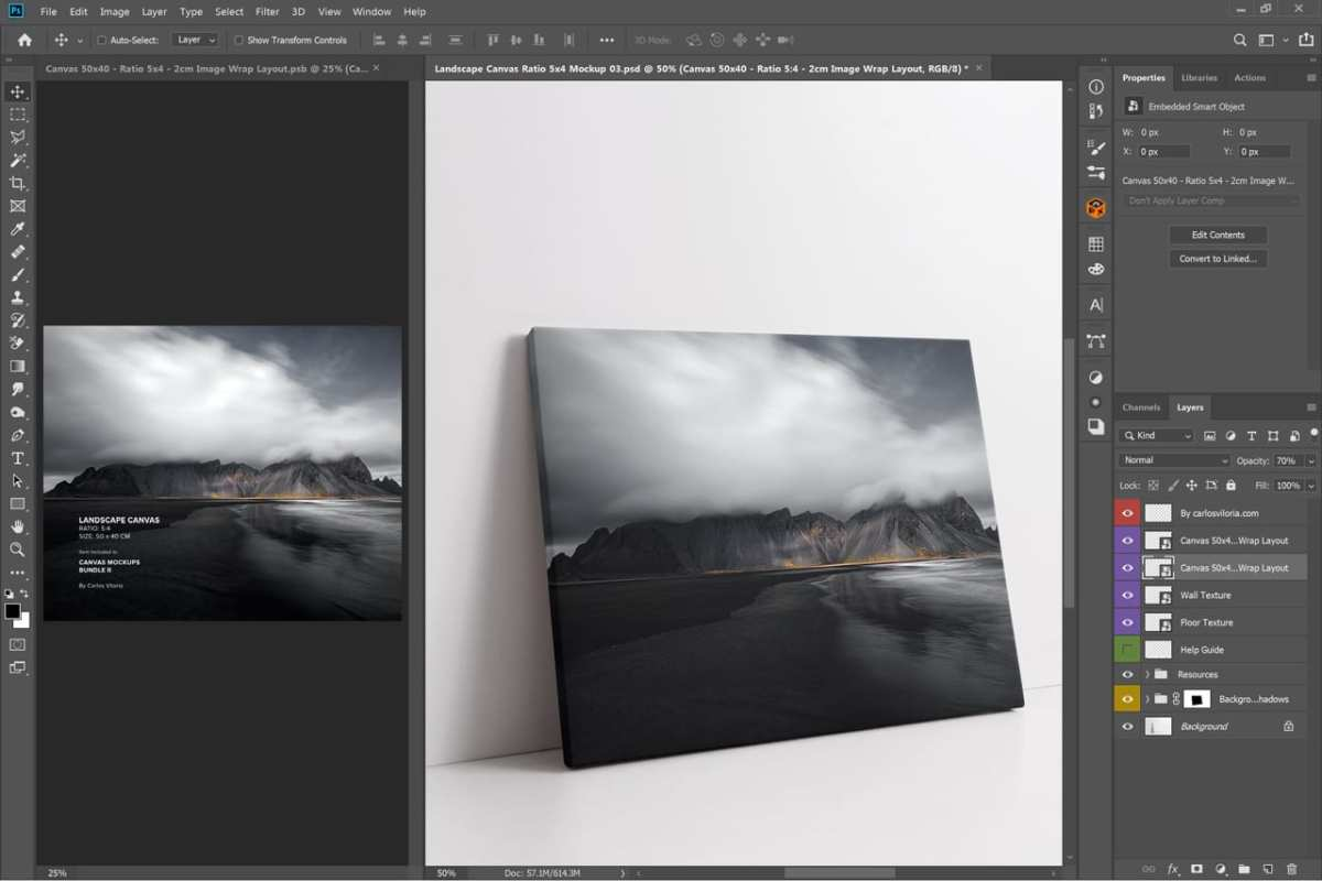 Thin Landscape Canvas Mockup