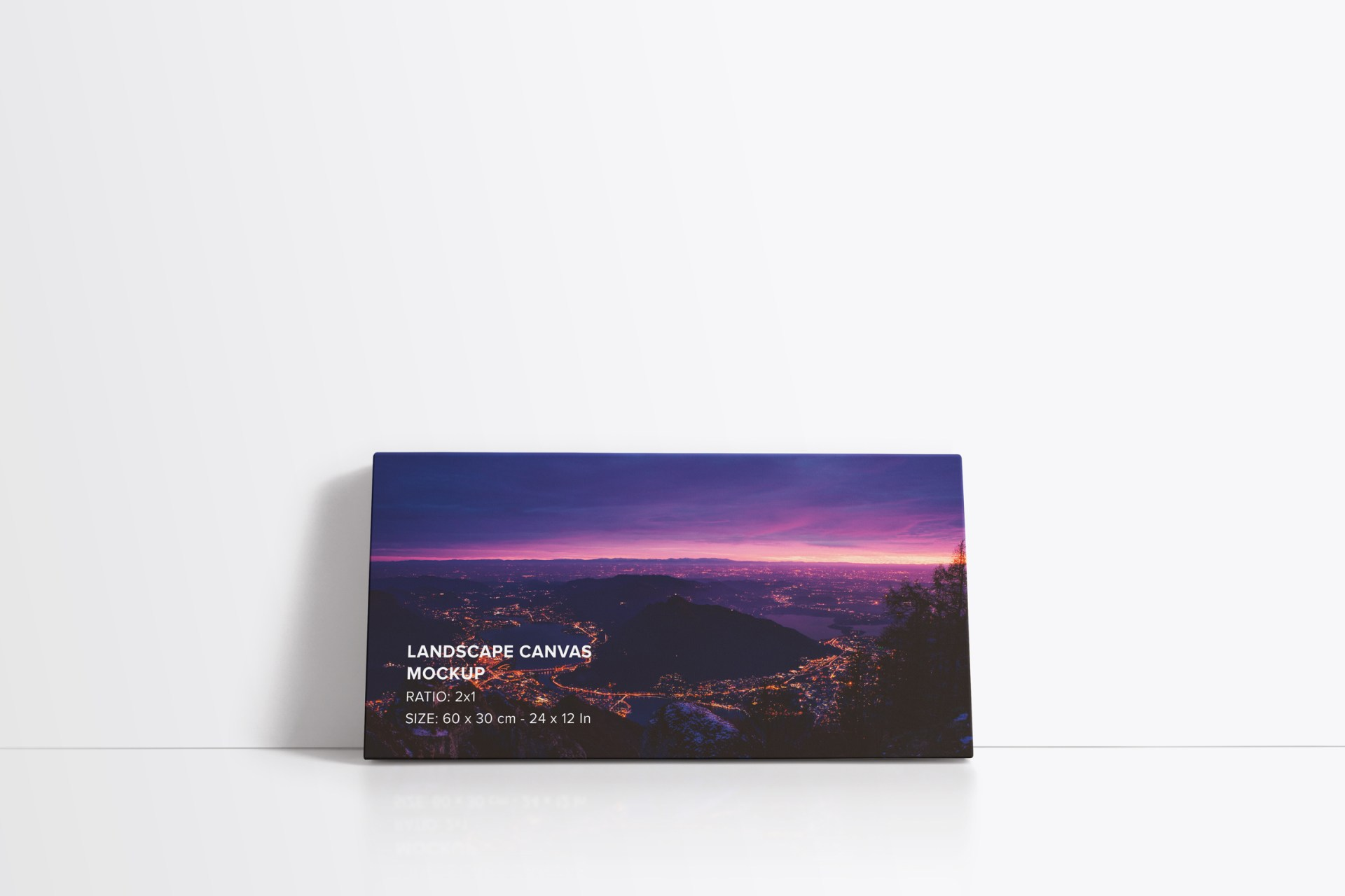 2x1 Leaning on Wall Landscape Canvas Mockup