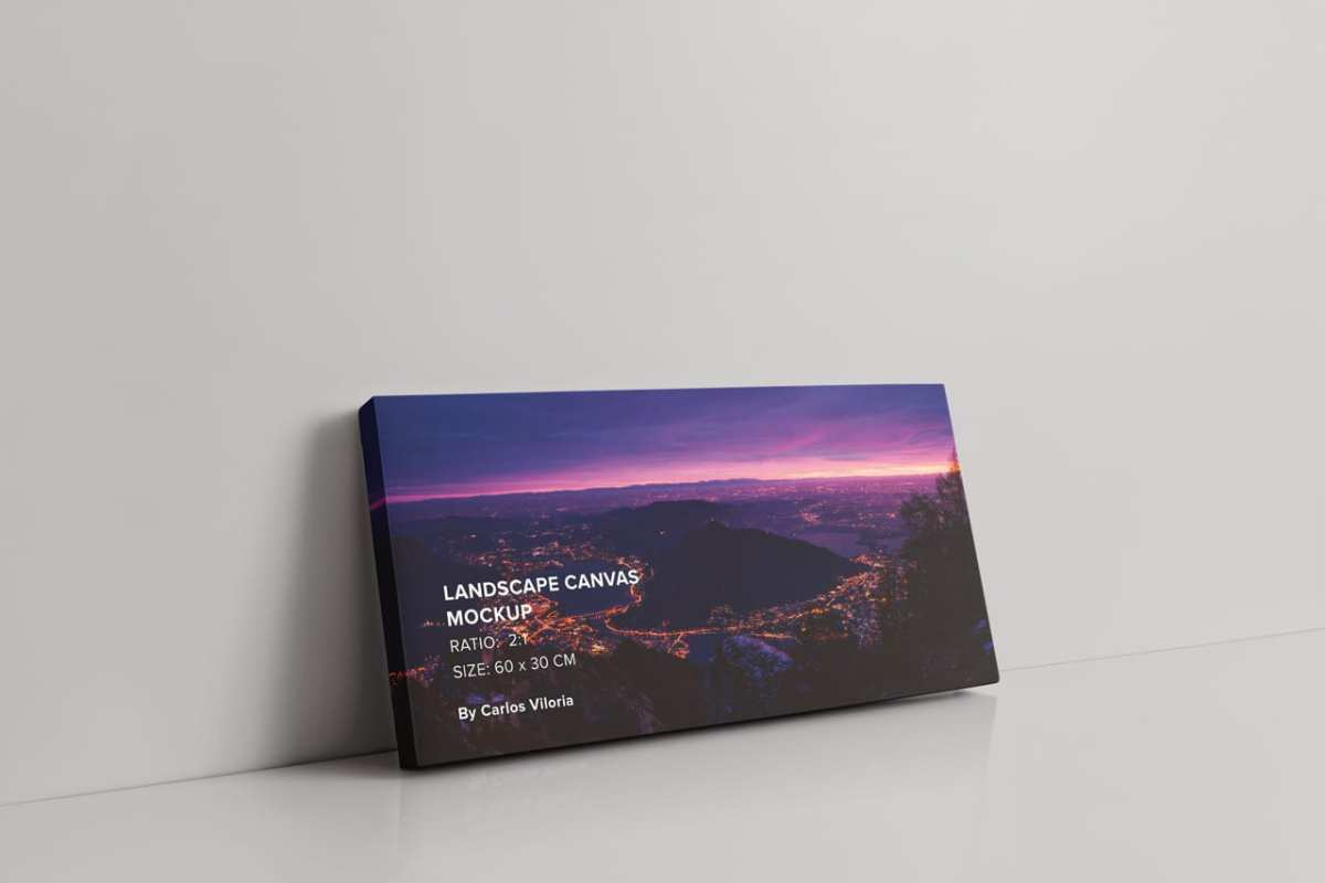 Perspective Landscape Canvas Ratio 2x1 Mockup