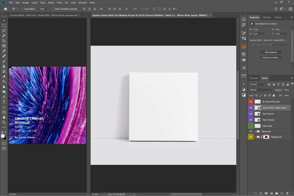 Front Square Canvas Mockup on Photoshop
