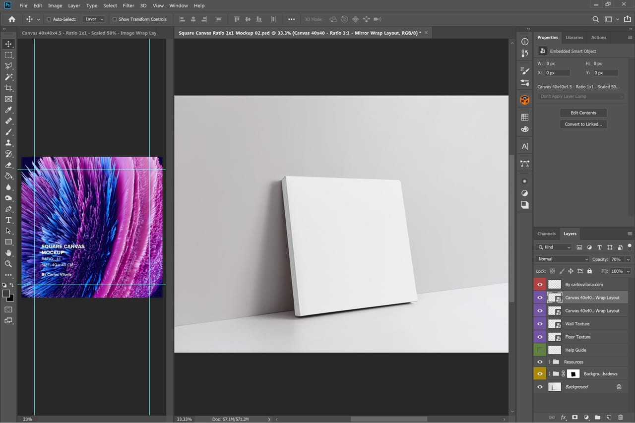 Perspective Wrap Side Canvas Mockup