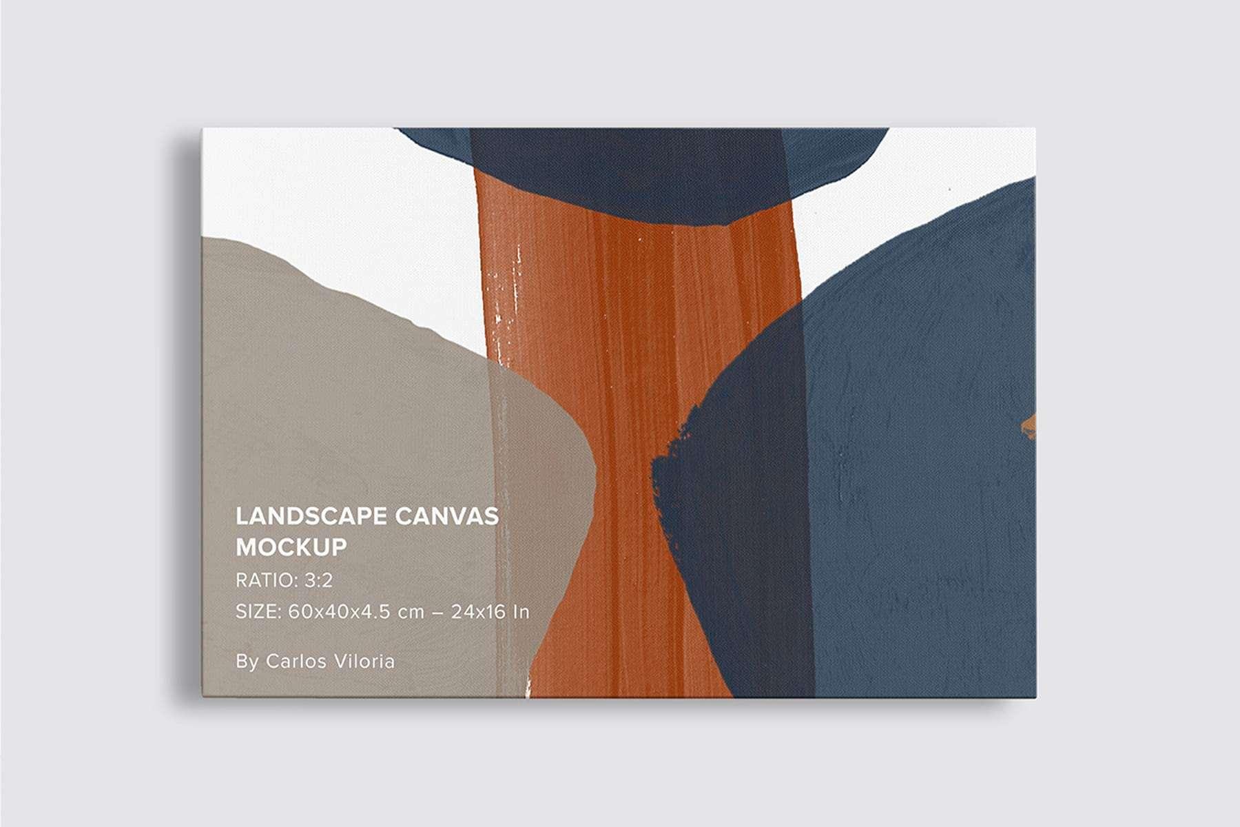 Front Hanging Landscape Canvas Ratio 3x2 Mockup
