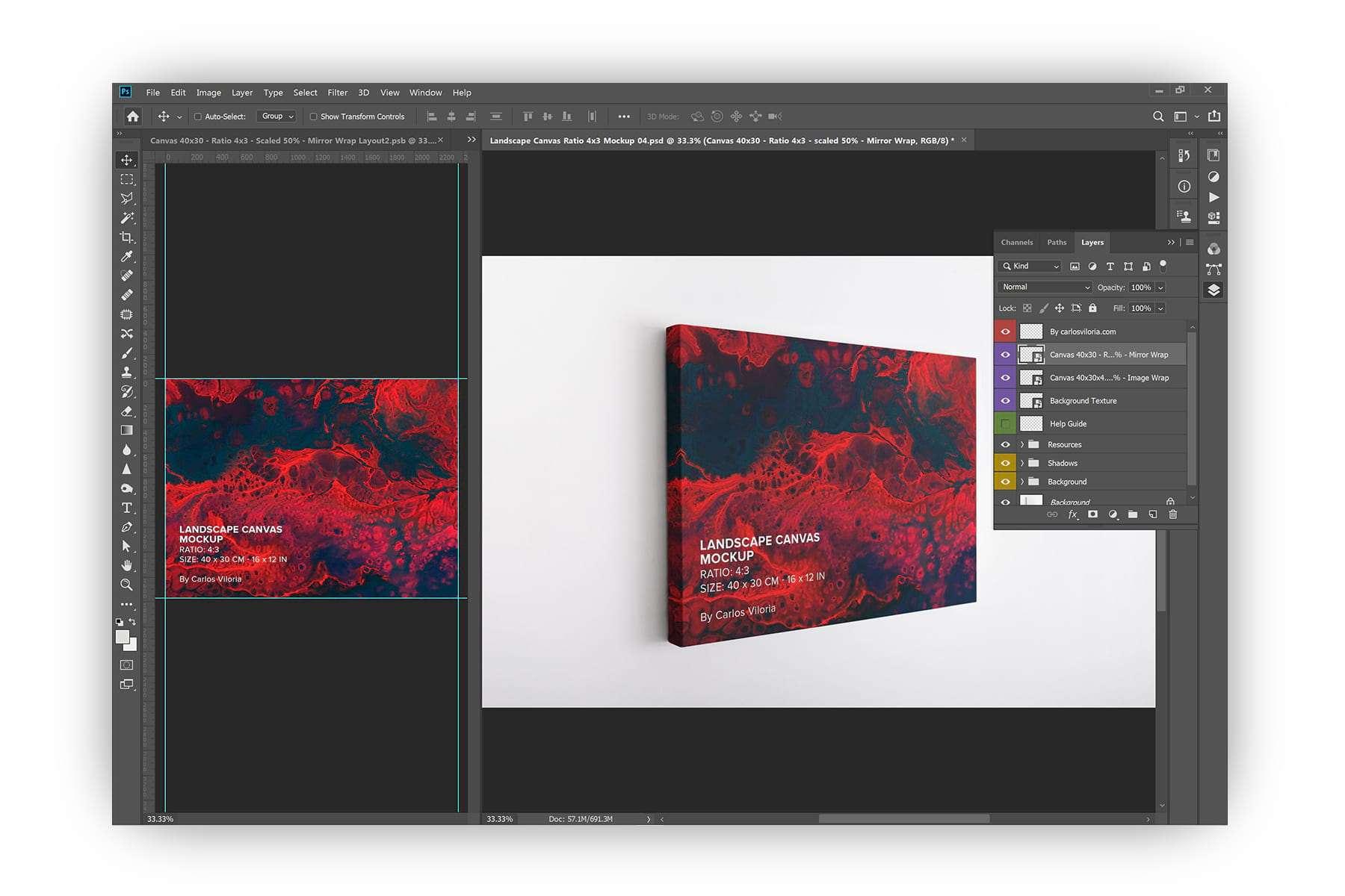 Hanging Landscape Canvas Ratio 4x3 Mockup for Photoshop