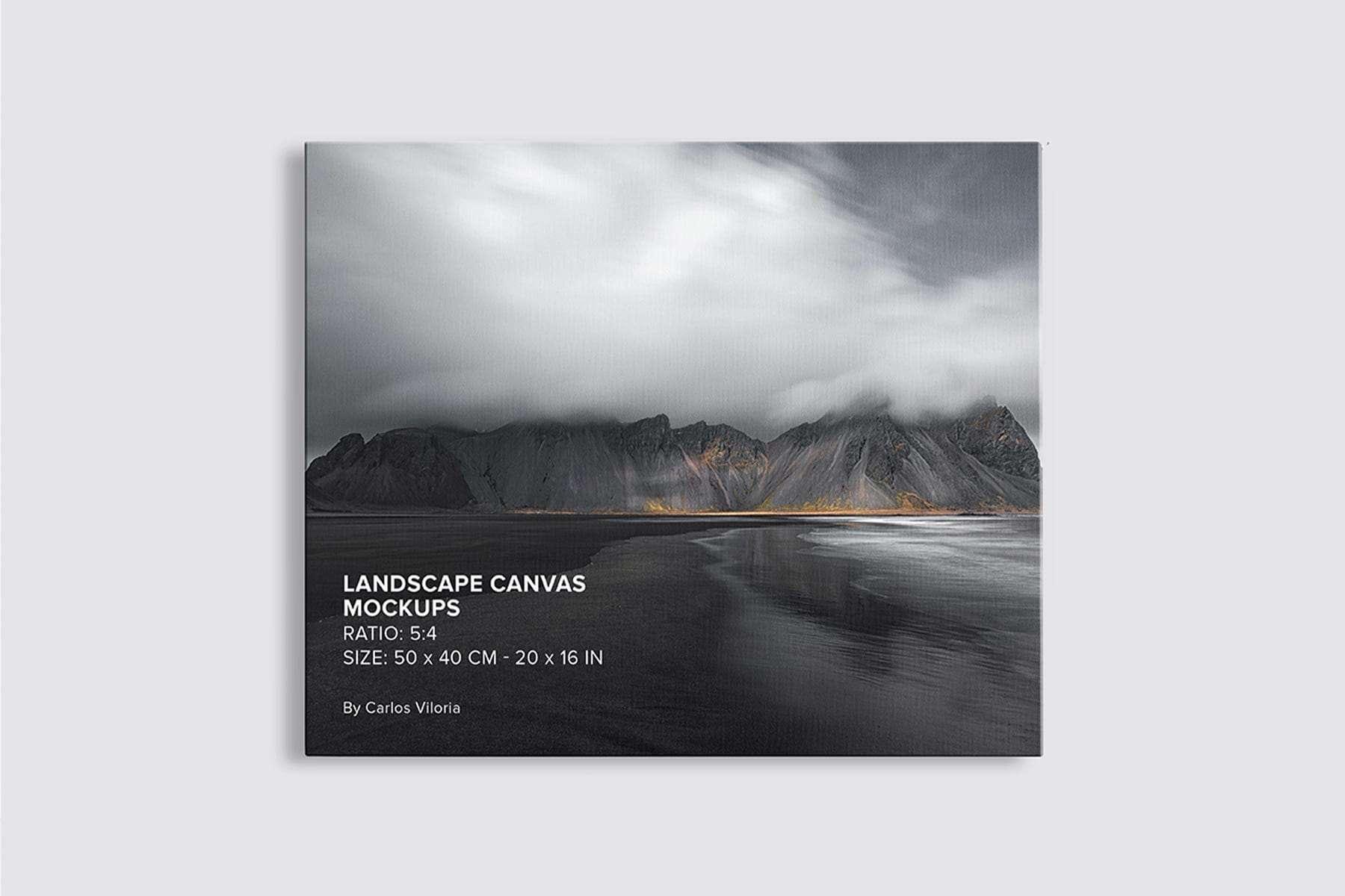 front-facing hanging Landscape Canvas Mockup