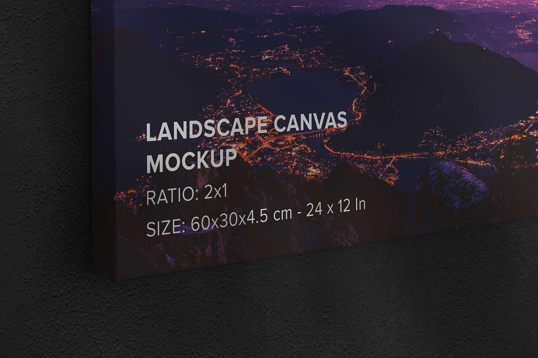 Hanging Landscape Canvas Ratio 2x1 Mockup