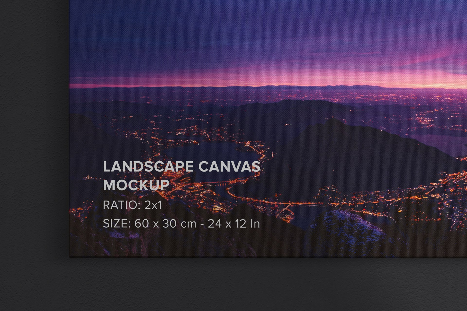 2x1 Landscape Canvas Hanging On Wall Mockup