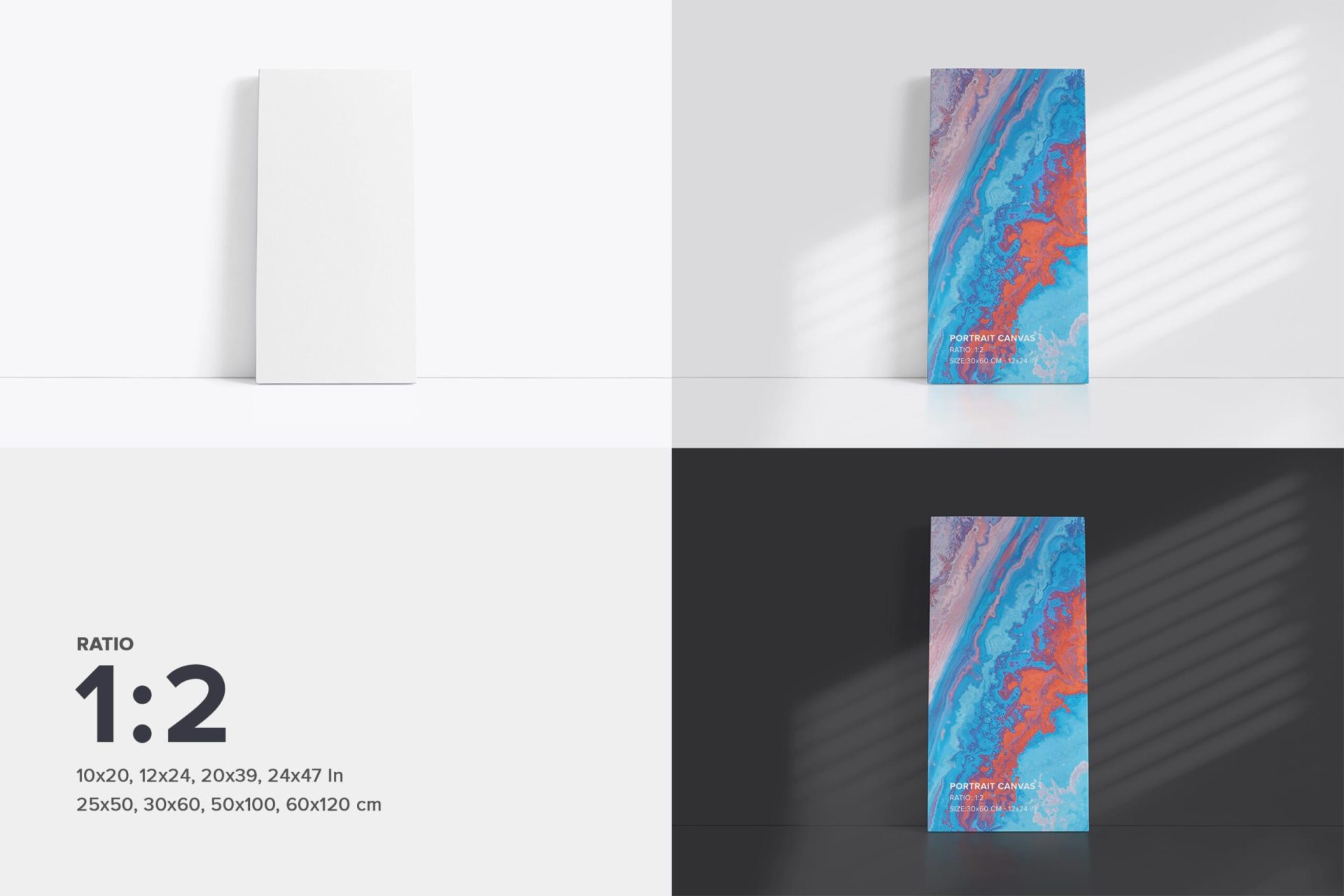 Vertical 1x2 Front Facing Canvas Mockup Bundle