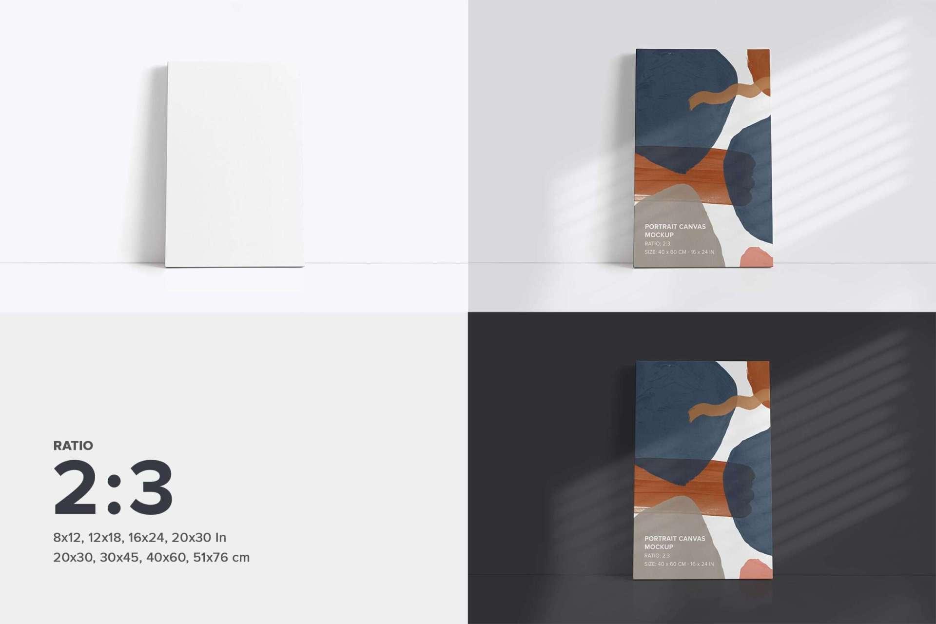 Fromt Facing Canvas Ratio 2x3 Mockup Bundle