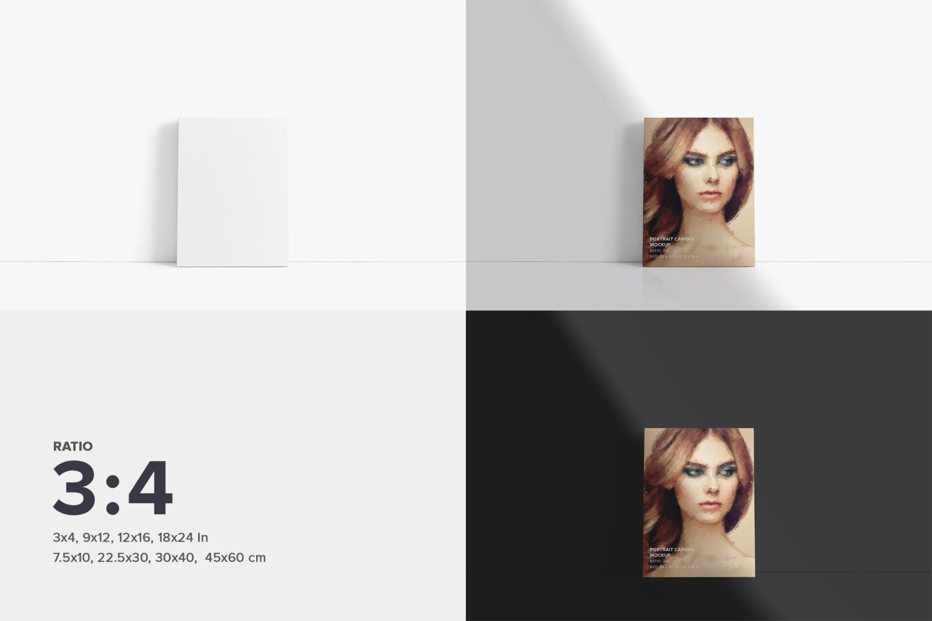 Fromt Facing Canvas 3x4 Mockup Kit