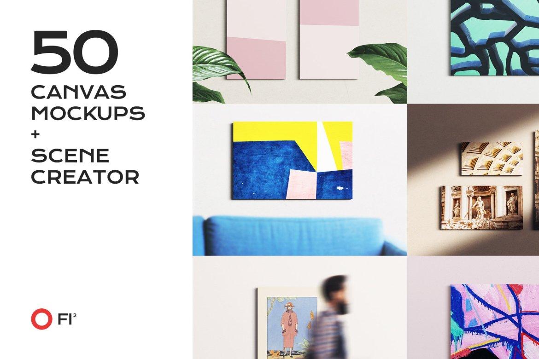 50 canvas mockup bundle creator kit