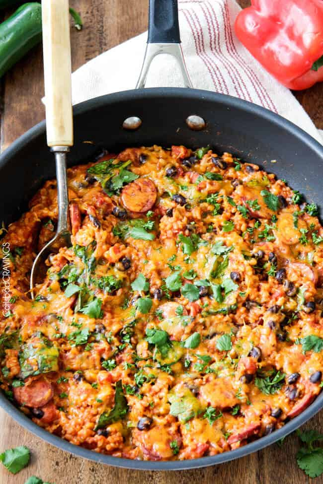 20 MINUTE TexMex Sausage and Rice Skillet is quick, delicious and bursting with flavor from the most amazing Creamy Roasted Red Pepper Jalapeno Sauce for a hearty, comforting one pot meal the whole family will love!
