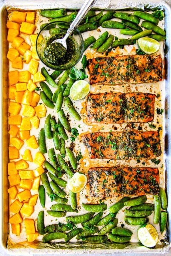 Sheet Pan Asian Chimichurri Salmon With Pineapple Amp Snap