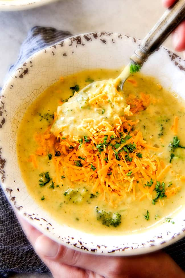 This is the BEST Broccoli Cheese Soup ever - you won't believe its lightened up!!! SO FLAVORFUL, creamy, easy, and on your table in 30 minutes!