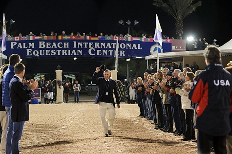 George Morris was saluted at the Winter Equestrian Festival after stepping down as U.S. show jumping coach. (Photo by Nancy Jaffer)