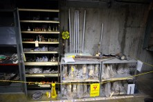 Radioactive tools in the basement of B Reactor, probably in the same place they were left in when the reactor shut down in 1968.