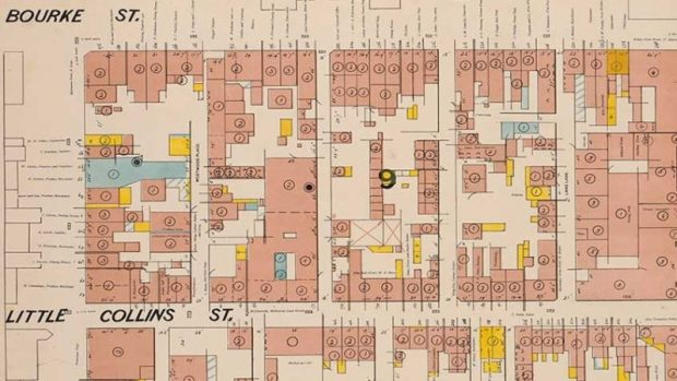 Part of the Melbourne Fire Insurance Plans, freely available online thanks to the State Library of Victoria. http://www.slv.vic.gov.au/search-discover/explore-collections-format/maps/maps-melbourne-city-suburbs/fire-insurance-plans