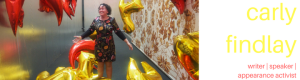 Carly FIndlay blog header - dancing with balloons