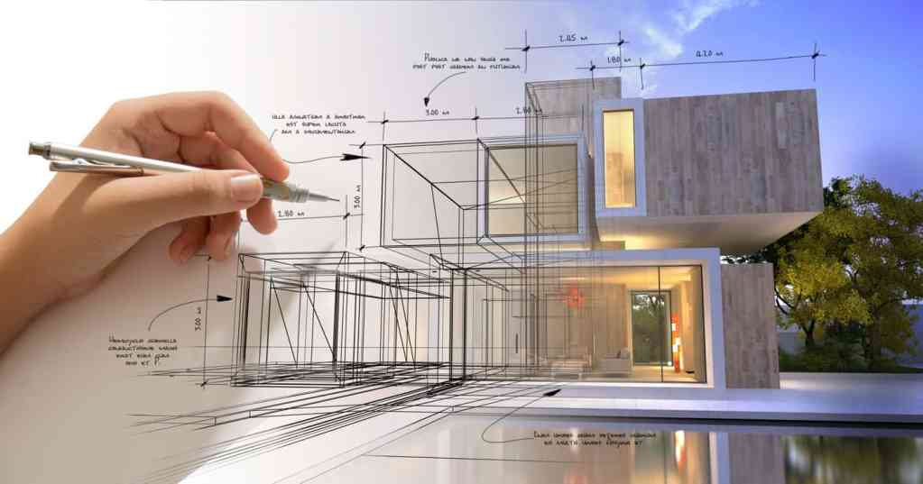 Designer hand drafting a modern house design.