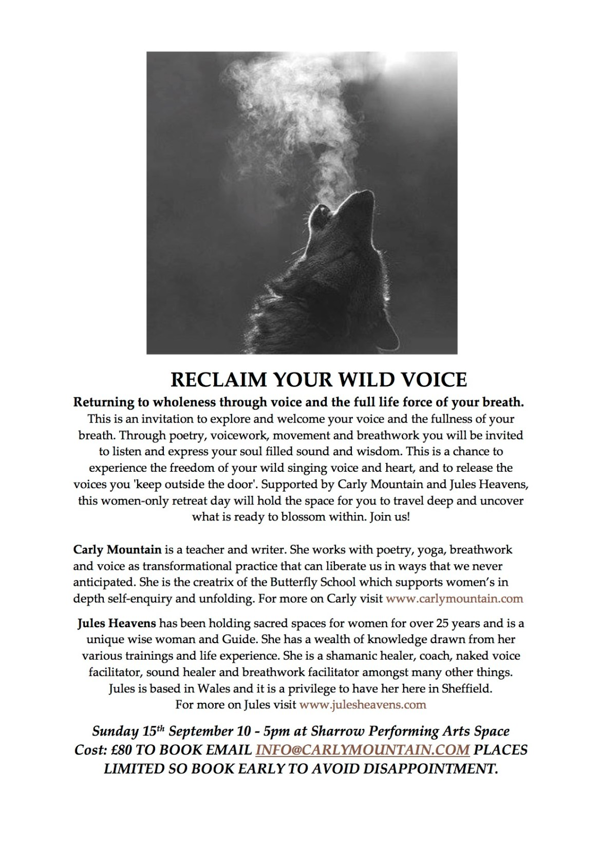 RECLAIM YOUR WILD VOICE WOMEN'S DAY RETREAT 15TH SEPTEMBER 2019