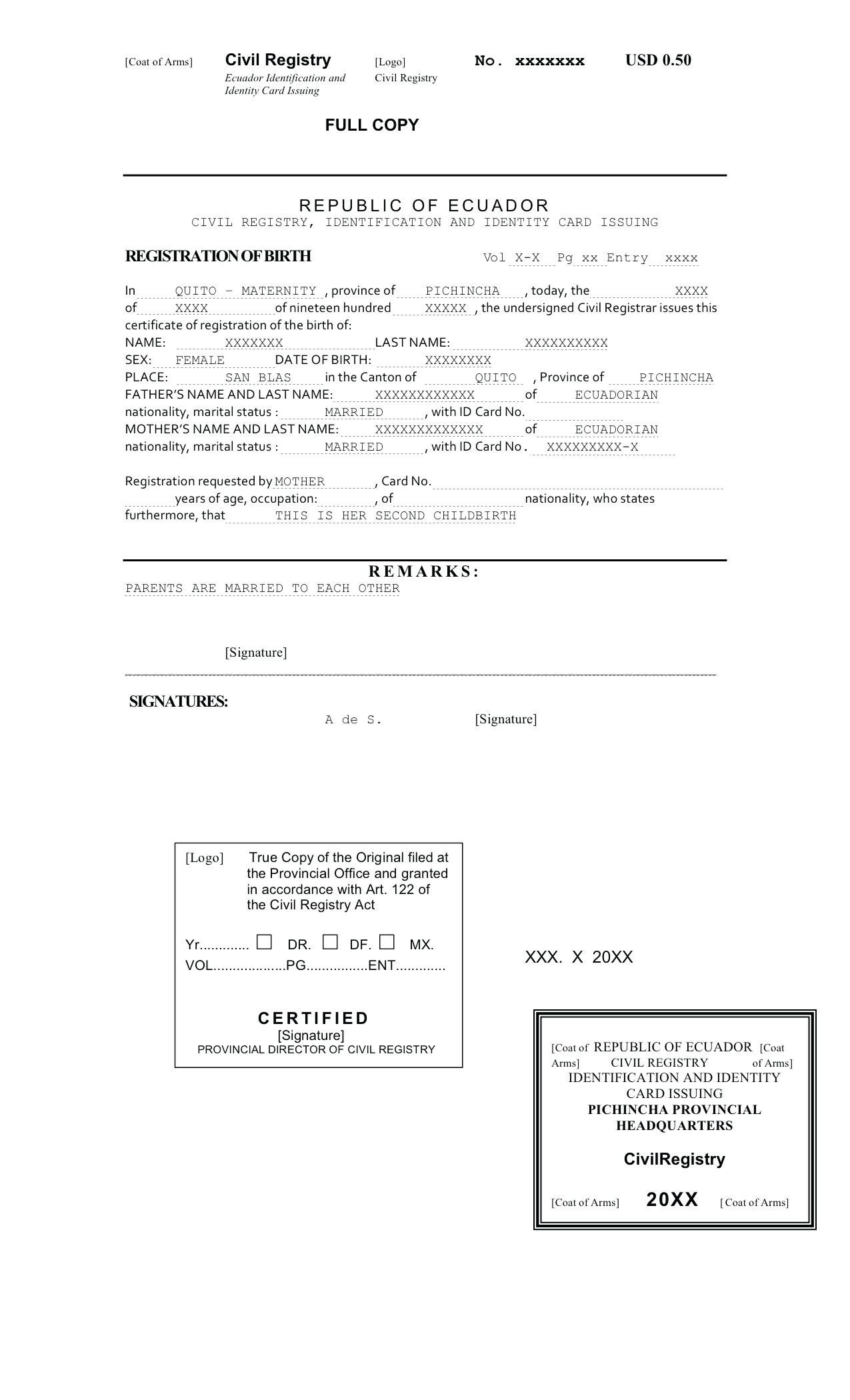 Birth Certificate Format In English Fill Online