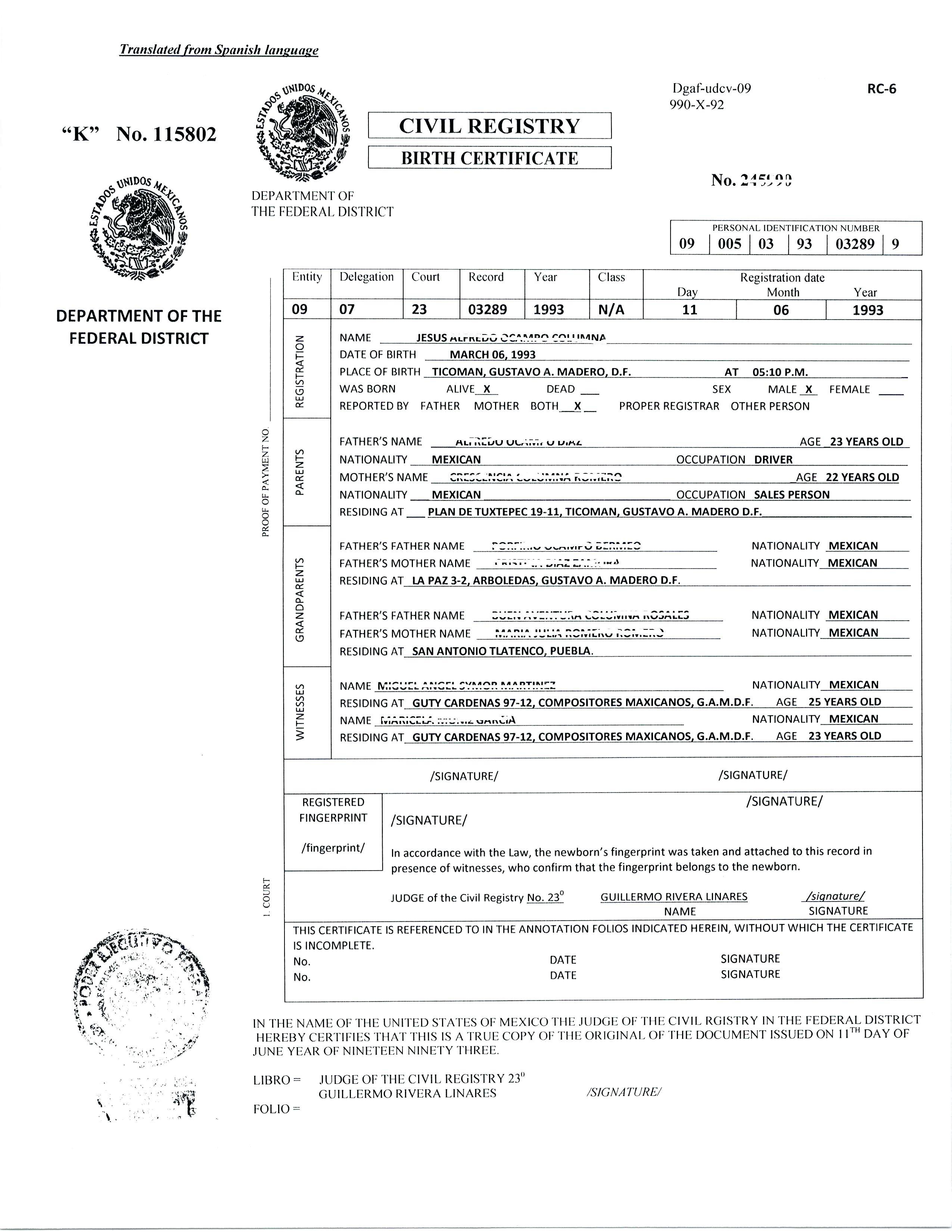 14 Elegant Birth Certificate Translation Template Land Of