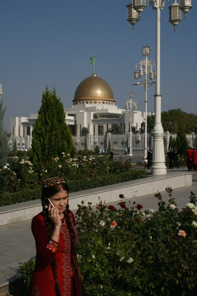 A Turkmen schoolgirl on the streets of Ashgabat, the capital of Turkmenistan