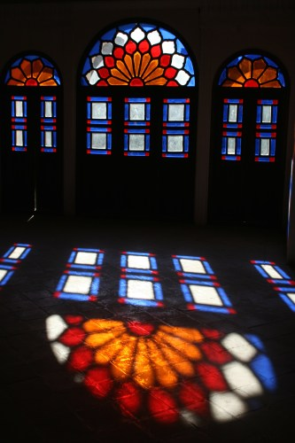 Stained glass windows at the traditional house, Khan-e Tabatabei