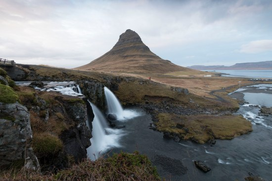 The most photographed mountain in Iceland, Kirkjufell, and the cascades, Kirkjufellsfoss