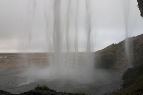 A pretty special moment - behind a veil of water that is Seljalandsfoss