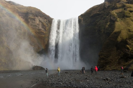 Rainbows are a common occurrence at Skogafoss