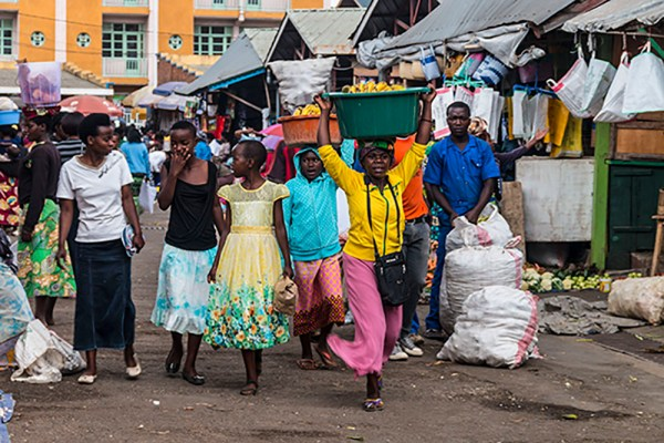 The colourful local market place of Musanze