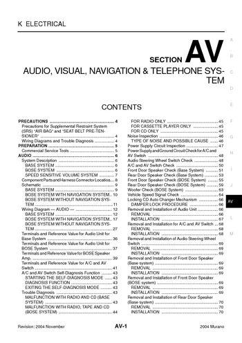 2004 nissan murano  audio visual system section av  pdf