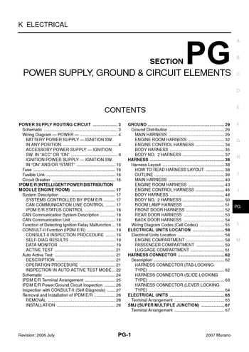 2007 nissan murano  power supply ground  circuit elements