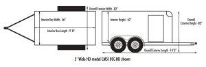 Custom Cargo  5' Wide SingleTandem | Car Mate Trailers, Inc