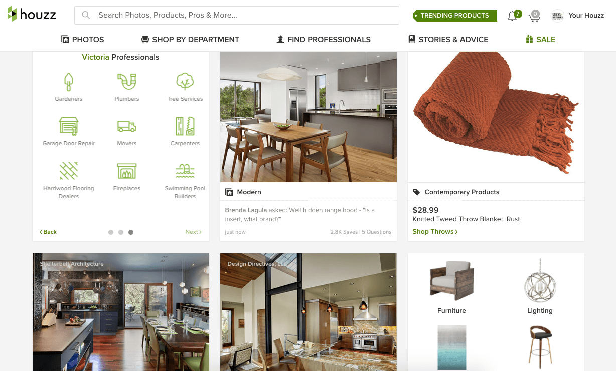 Screenshot of a Houzz home page