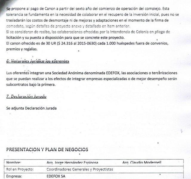 Empresa que se presentó a licitación de Barracones de Montes del Plata