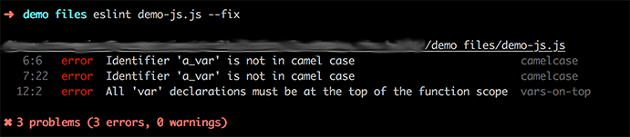 Example output of ESLint command with --fix option.