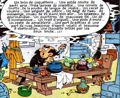Le sorcier Gargamel composant la Schtroumfette