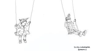 Ilustración niñas en columpios