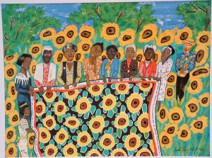 """The Sunflower Quilting Bee at Arles"" by Faith Ringgold (1996) In this lithograph, Madam C. J. Walker, Sojourner Truth, Ida Wells, Fannie Lou Hamer, Harriet Tubman, Rosa Parks, Mary McLeod Bethune, and Ella Baker hold out their quilt. Vincent van Gogh, well known for his paintings of sunflowers, stands to the right. Willia Marie, a fictional character at the bottom left, entertains the women in conversation."