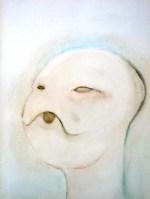 Japonese head Oil on wood 35x26 cms