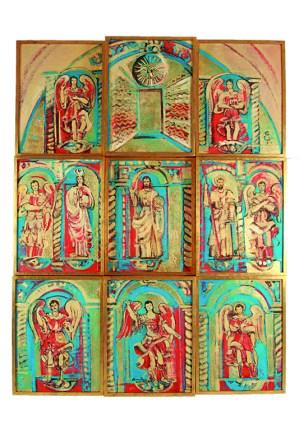Altar de los Arcángeles de la Catedral Metropolitana Óleo y hoja de oro / tela, 251x191 cm 2009